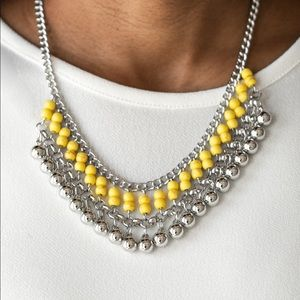 Beaded Bliss Yellow Necklace Set